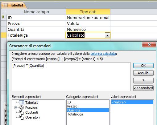 Campo calcolato in tabella Access